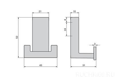 Вешалка для одежды 52х43 мм